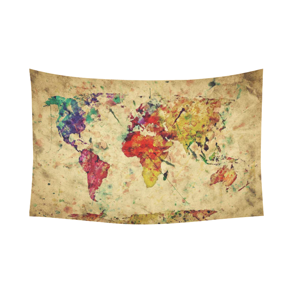 InterestPrint Earth Map Wall Art Home Decor, Vintage Retro World Map ...
