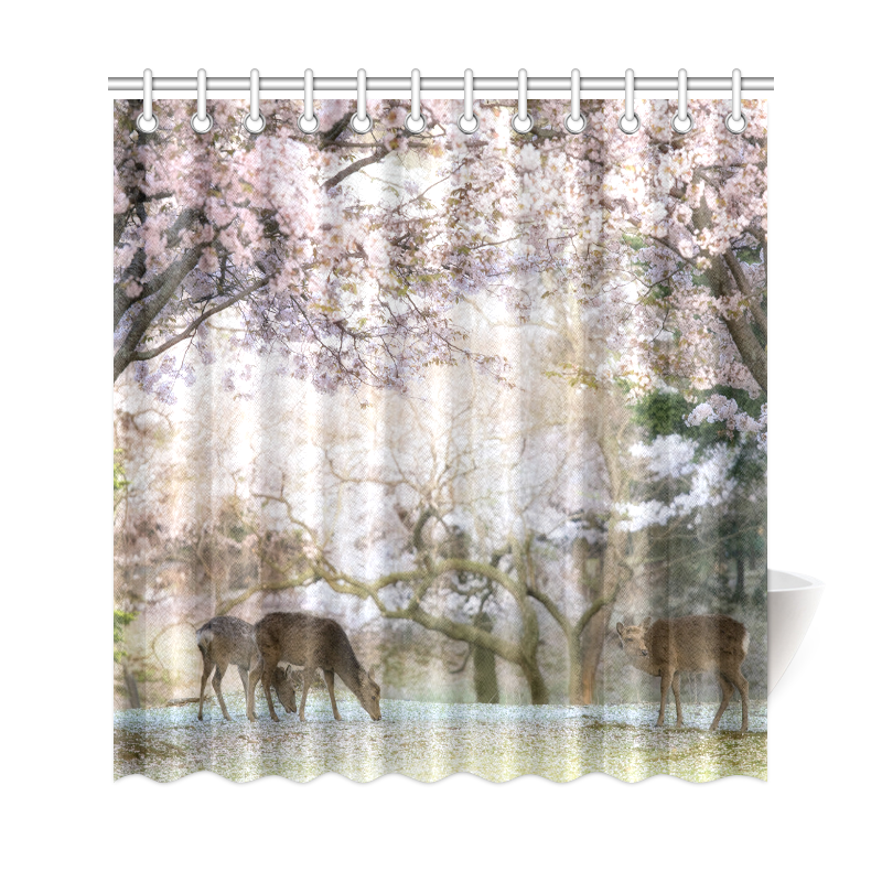 InterestPrint Japanese Cherry Blossom Home Decor, Red Mystic Floral Flower  Deer Polyester Fabric Shower Curtain Bathroom Sets With Hooks