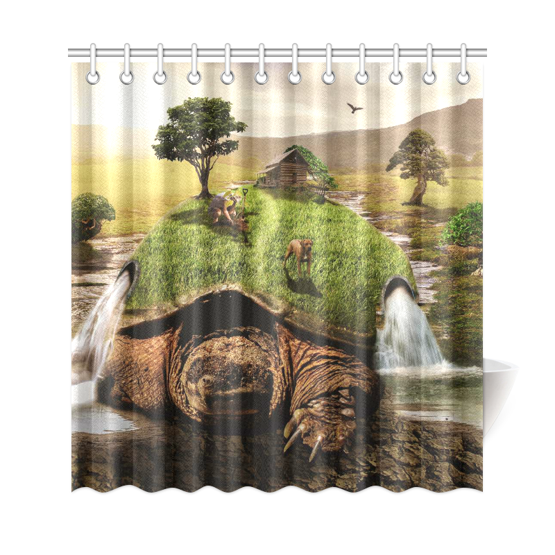 InterestPrint Green Turtle Home Decor Sunset Tree Waterfall Landscape Polyester Fabric Shower Curtain Bathroom Sets With Hooks