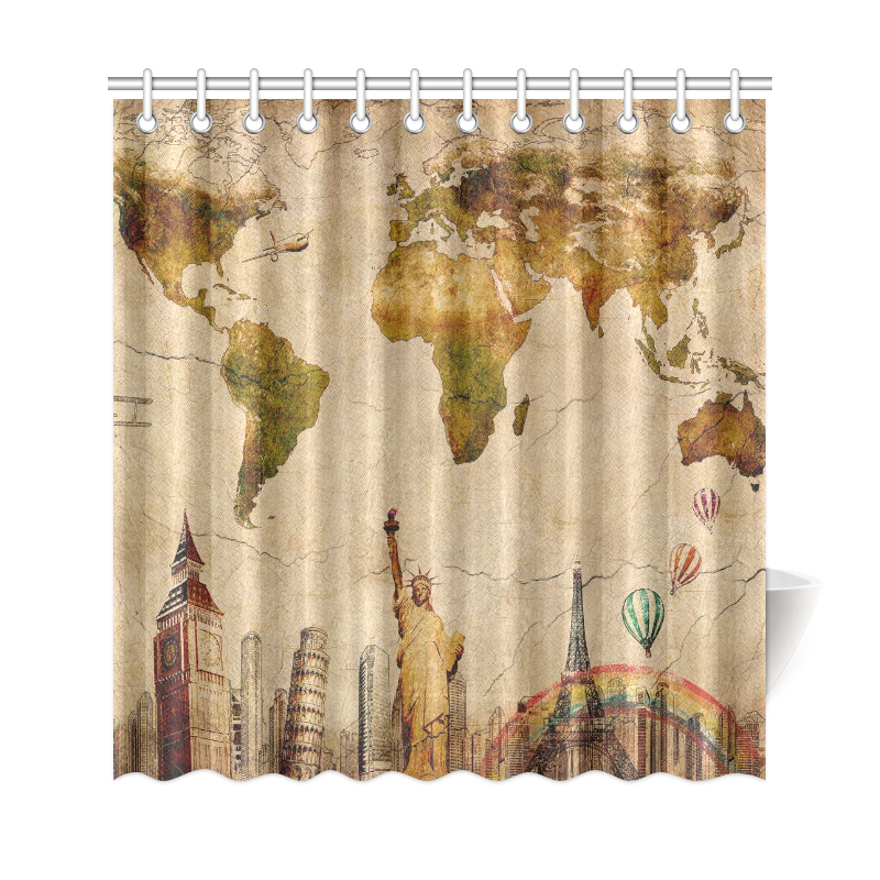 InterestPrint Vintage World Map Home Decor City Landmark Travel Polyester Fabric Shower Curtain Bathroom Sets