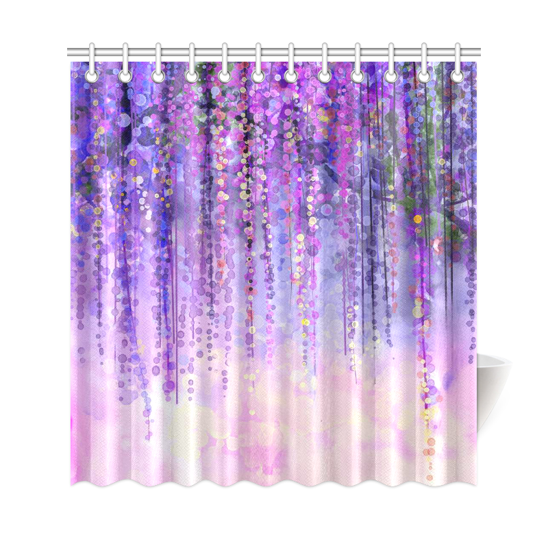 InterestPrint Wisteria Flowers Tree Home Decor, Purple Violet Floral  Polyester Fabric Shower Curtain Bathroom Sets With Hooks