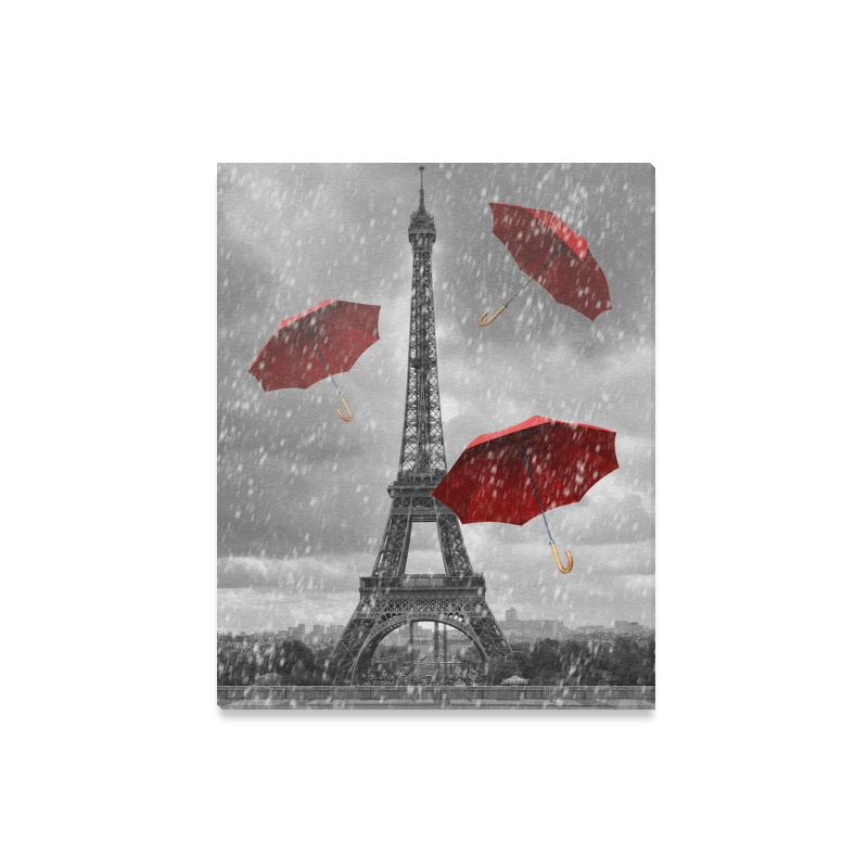 InterestPrint Black and White Eiffel Tower with Red Umbrella Canvas ...
