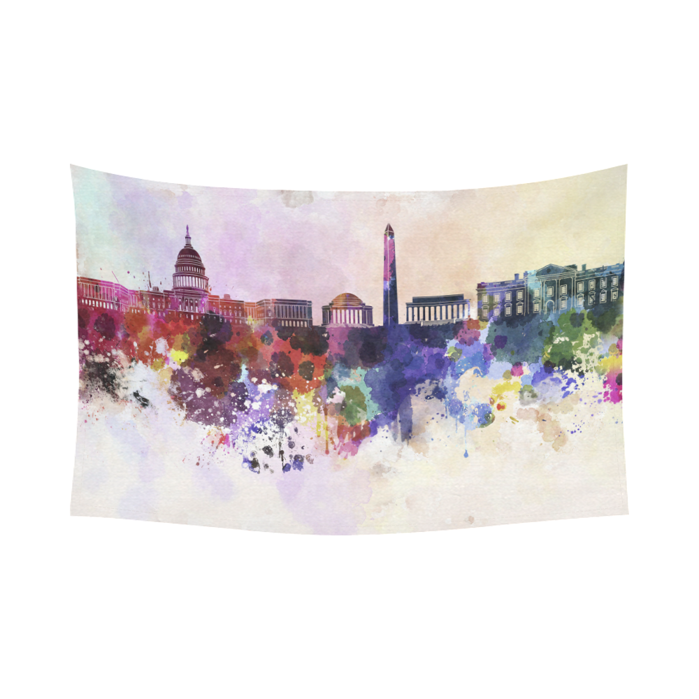 Horizontal Wall Decor interestprint washington dc cityscape in watercolor tapestry