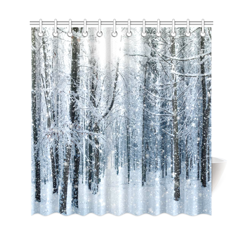 snowy trees forest mountain home decor winter landscape polyester fabric shower curtain bathroom sets with hooks
