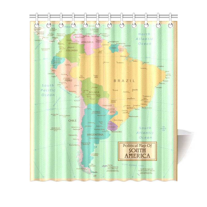 Interestprint home bathroom decor vinatge world map shower curtain interestprint home bathroom decor vinatge world map shower curtain hooks blue colorful fabric antique political map of south america gumiabroncs Image collections