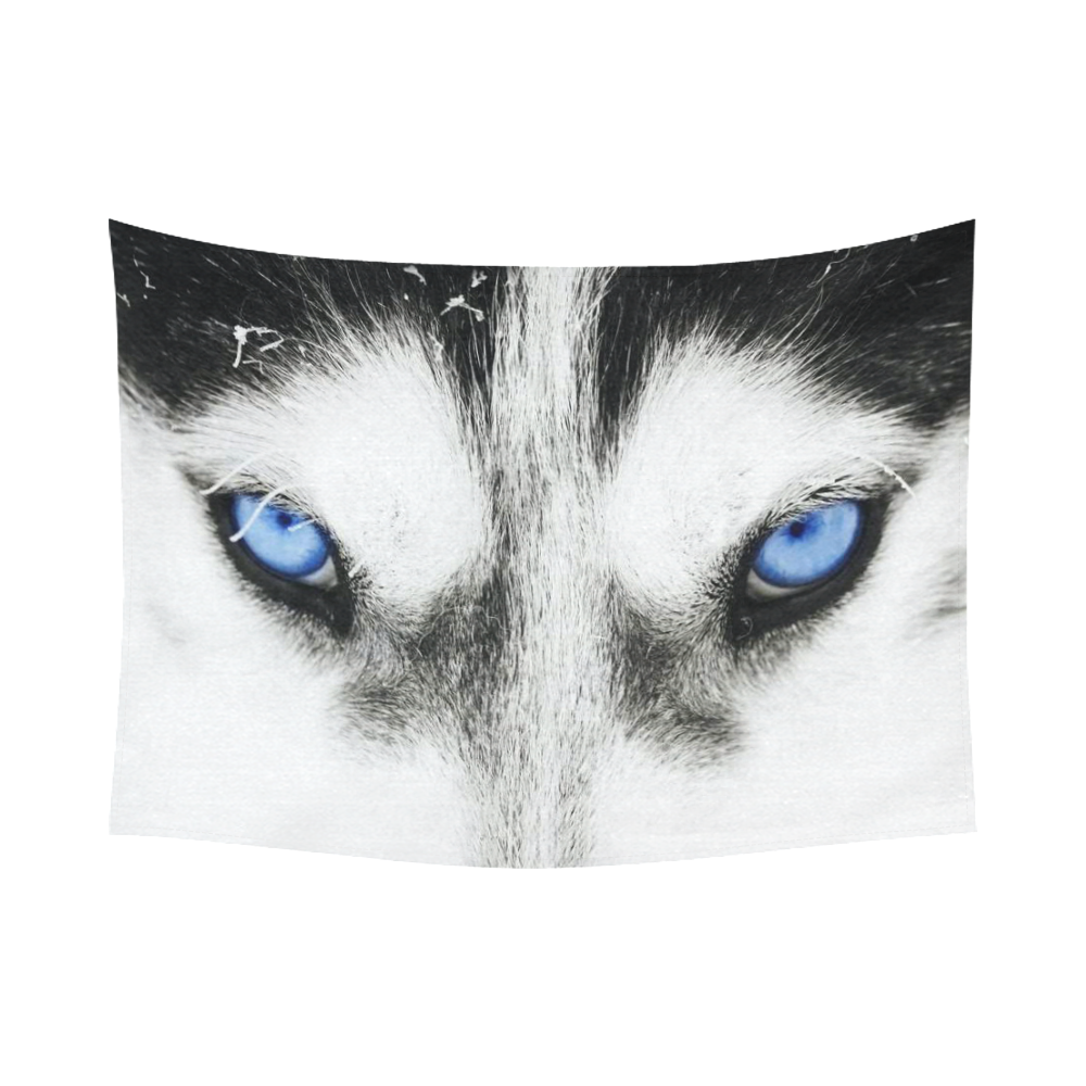 InterestPrint Black and White Blue Eyes Wolf Tapestry Wall Hanging ...