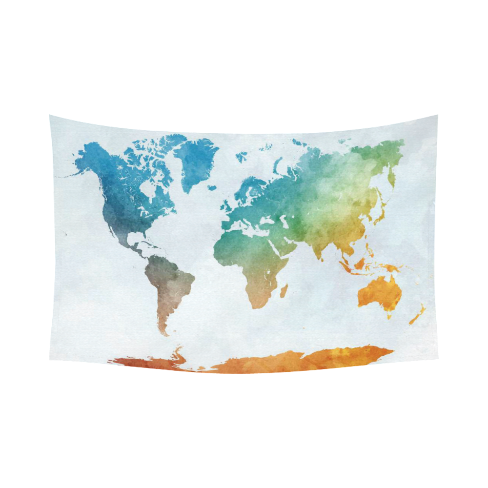 Interestprint Colorful Watercolor World Map Tapestry Wall