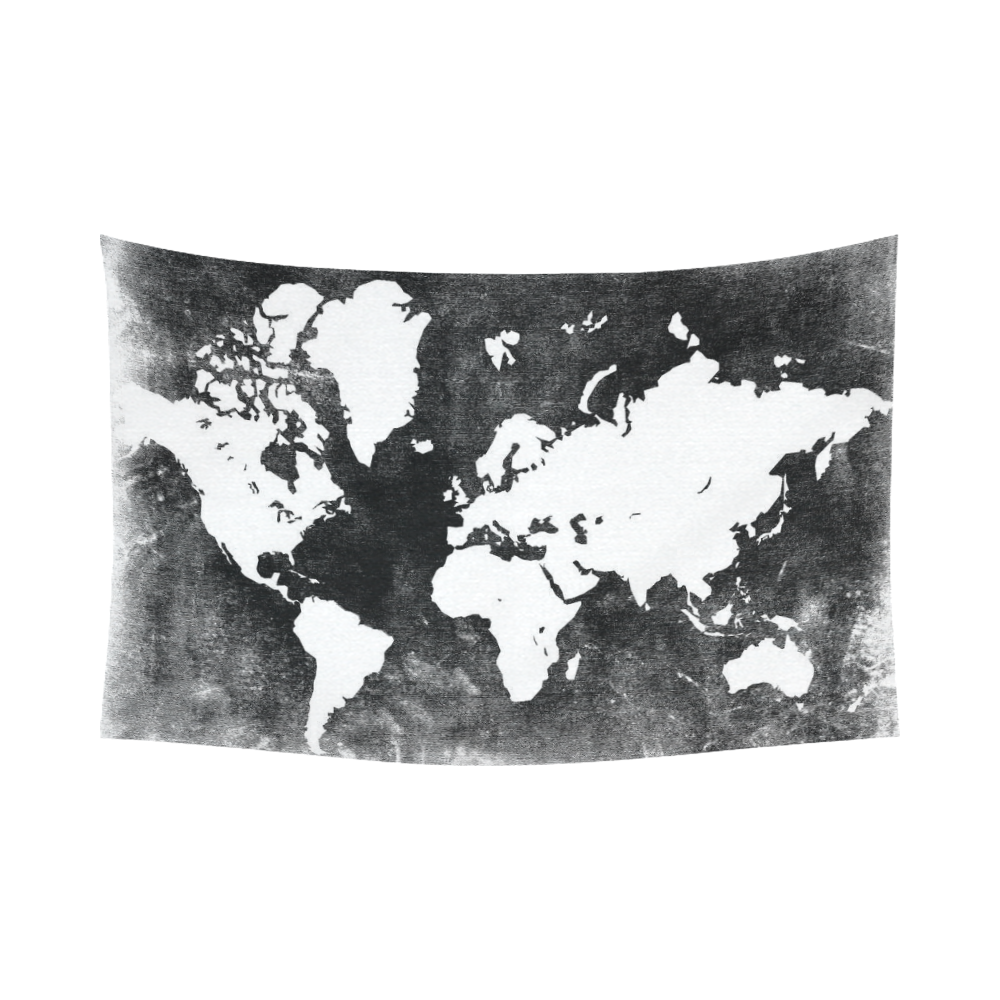Interestprint Black And White Earth World Map Tapestry