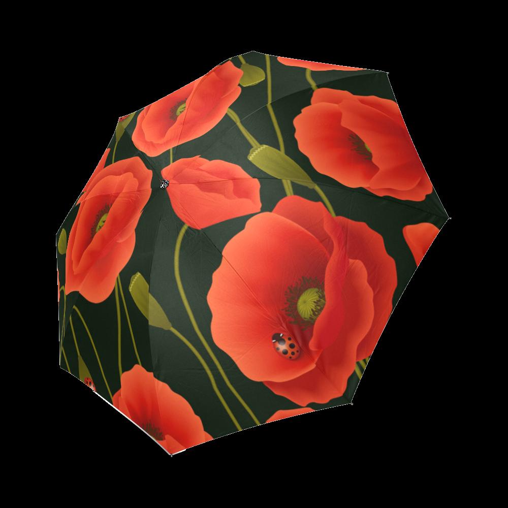 Interestprint Stylish Poppies Poppy Flower Foldable Umbrella