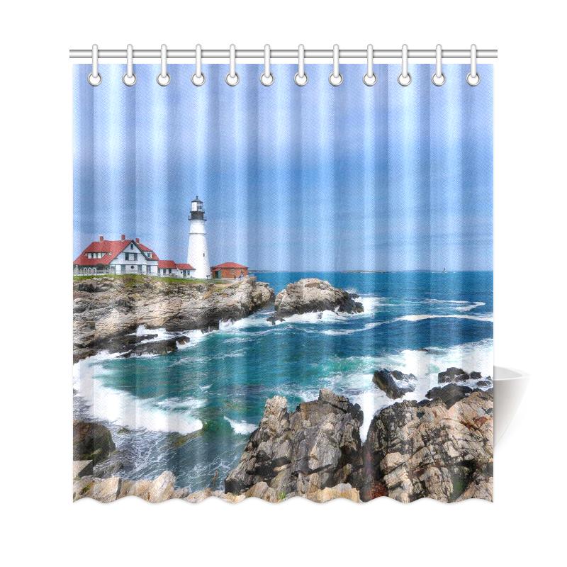lighthouse ocean custom shower curtain polyester fabric bathroom sets home decor