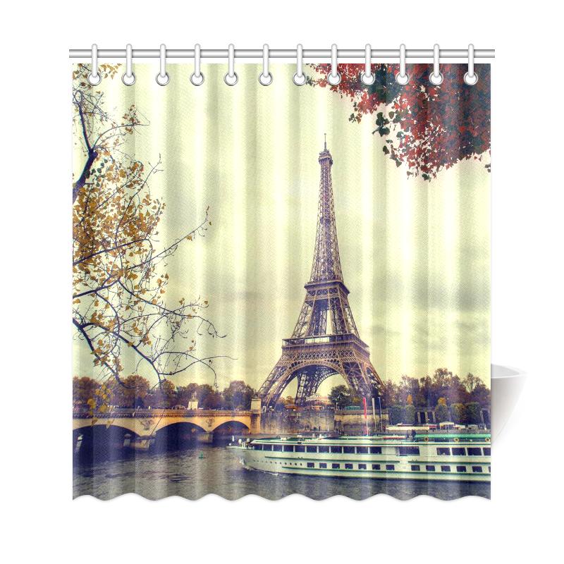 72x72/'/' street of Paris Eiffel Tower Bathroom Shower Curtain Waterproof 12 Hooks
