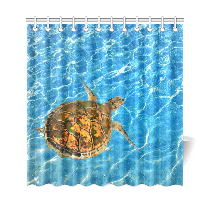 InterestPrint Blue Ocean Wave Home Decor,Sea Turtle Chelonia Polyester  Fabric Shower Curtain Bathroom Sets