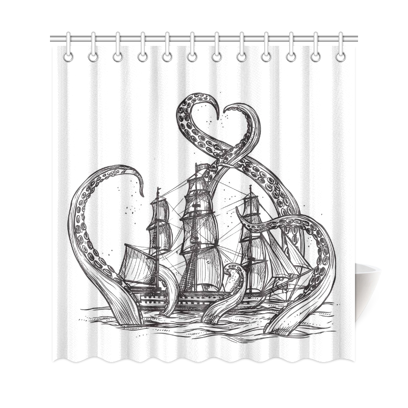 InterestPrint Sea Monster Home Decor Octopus Pirate Ship Polyester Fabric Shower Curtain Bathroom Sets