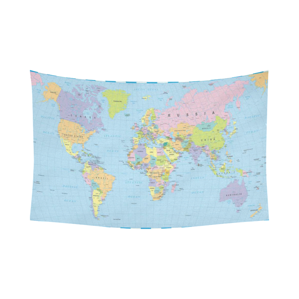 Interestprint educational wall art home decor colored world map interestprint educational wall art home decor colored world map with countries and cities name cotton linen tapestry wall hanging art sets gumiabroncs Choice Image