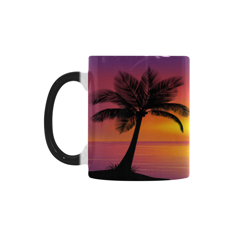 Interestprint Tropical Palm Tree Dolphin Sun Beach Morphing Mug Heat Sensitive Color Changing Coffee Mug Cup With Quotes Unique Funny Birthday Christmas
