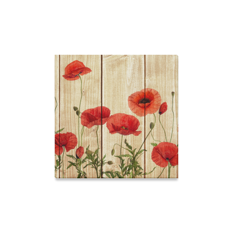 Us 24 99 Interestprint Poppy Flowers On Vintage Wood Canvas Wall Art Print Flower Painting Wall Hanging Artwork Stretched And Gallery Canvas Ready To