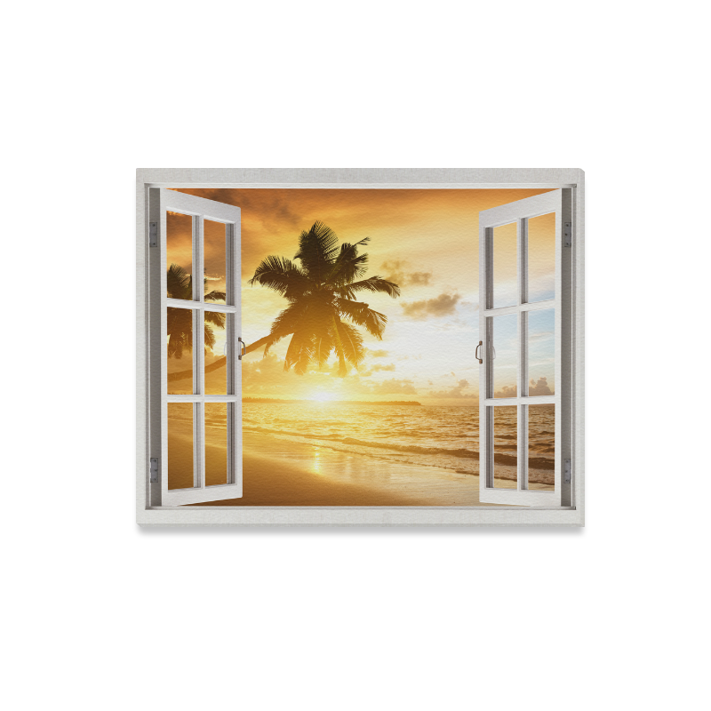 Us 29 99 Interestprint Window Canvas Wall Art Print Palm Tree Beach Seascape Painting Wall Hanging Artwork For Home Decoration