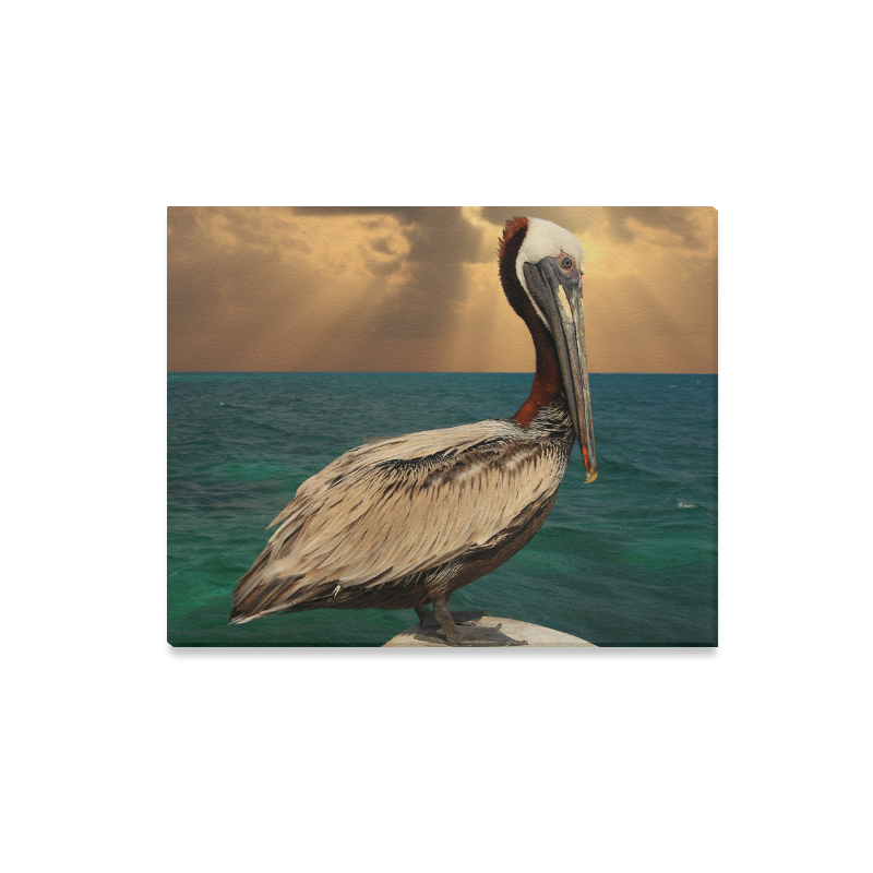 InterestPrint Great Brown Pelican Sitting on the Post at Sunset ...