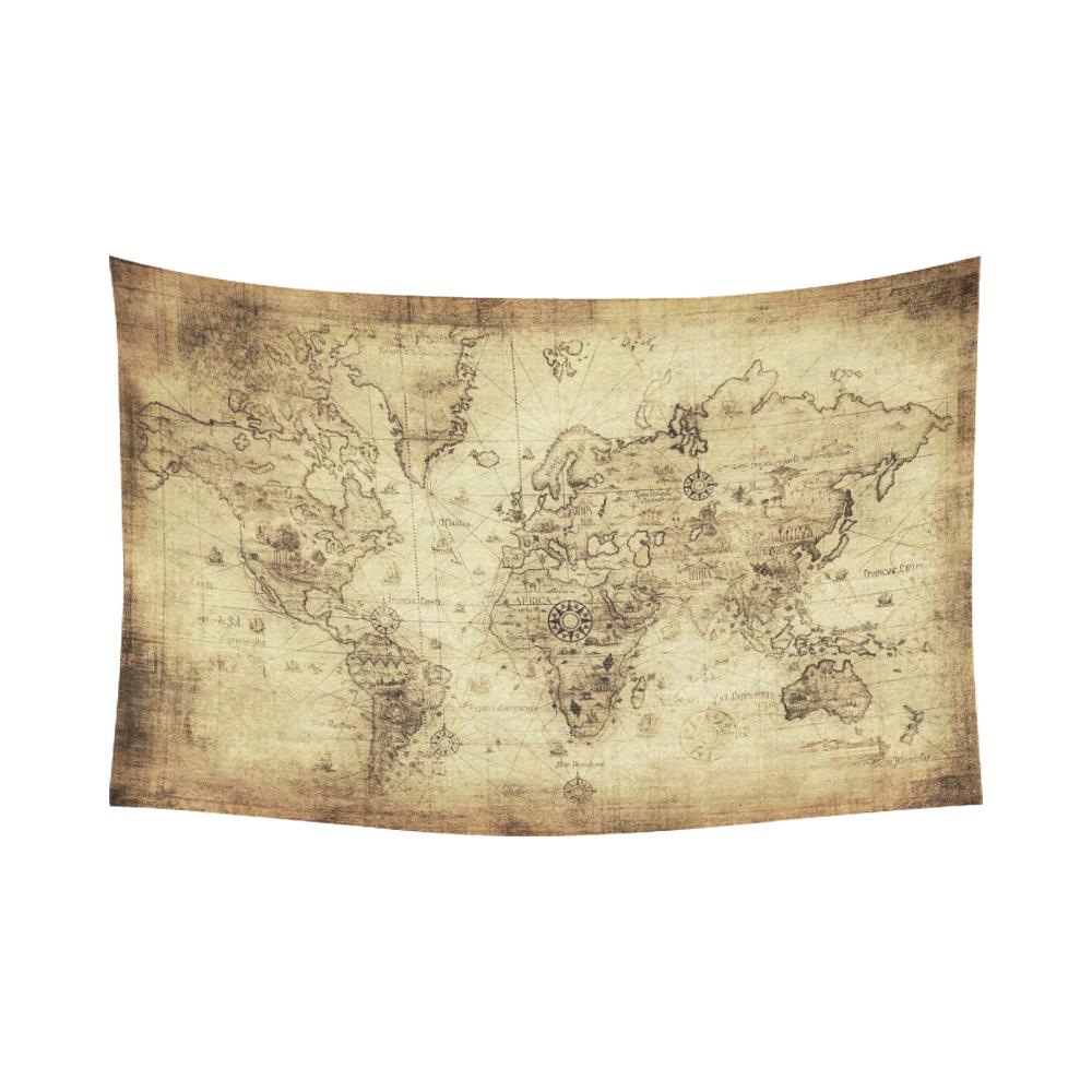 InterestPrint Global Decor, World Map Vintage Style Art Cotton Linen ...