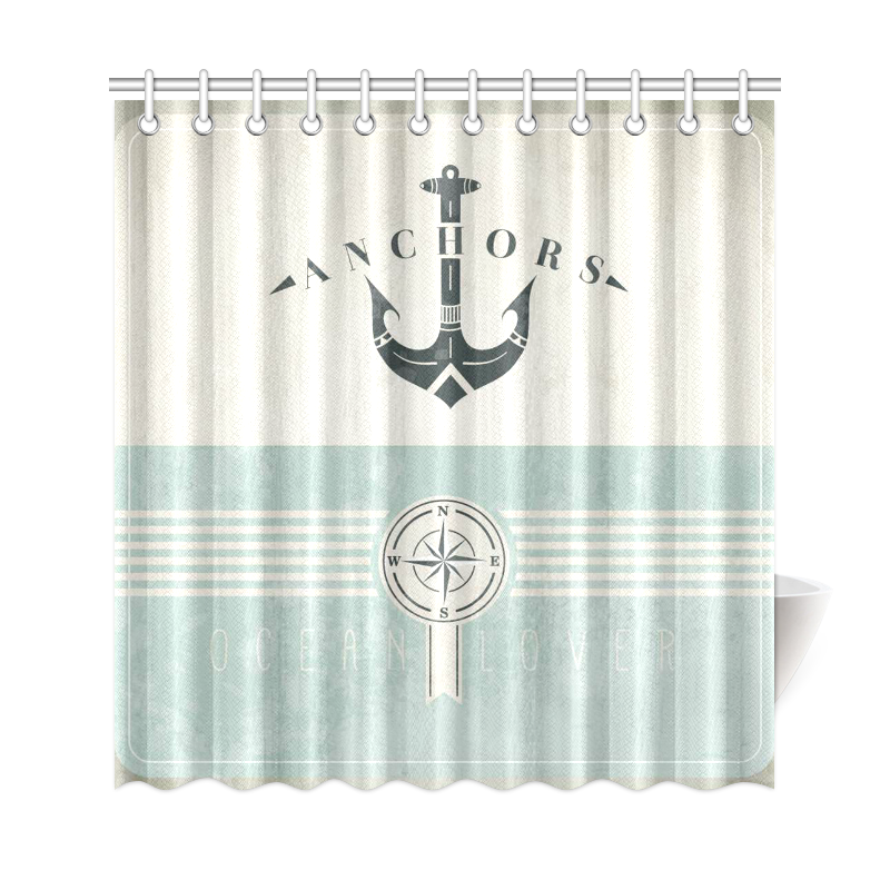 InterestPrint Artsy Shower Curtain Ocean Decor Nautical Anchor