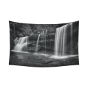 InterestPrint Natural Landscape Wall Art Home Decor, A Hidden Waterfall in Hocking Hills Ohio in Black and White Cotton Linen Tapestry Wall Hanging Art Sets