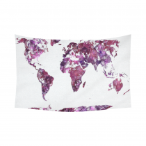 InterestPrint Watercolor Art Home Decor, World Map Purple Cotton Linen Tapestry Wall Hanging Art Sets