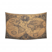 InterestPrint Global Map Wall Art Home Decor, Ancient World Map Cotton Linen Tapestry Wall Hanging Art Sets