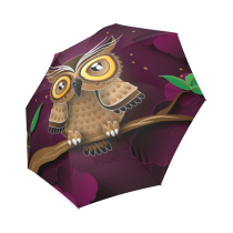 InterestPrint Hipster Cute Owl Purple Foldable Umbrella