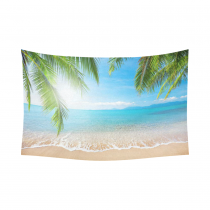 InterestPrint Bule Sea Ocean Home Decor Wall Art, Tropical Beach Palm Tree Cotton Linen Tapestry Wall Hanging Art Sets