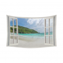 InterestPrint Summer Beach Home Decor Wall Art, The Open Window with Sea Views Cotton Linen Tapestry Wall Hanging Art Sets
