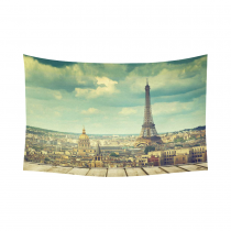 InterestPrint Cityscape City Landmark Home Decor Wall Art,Eiffer Tower and Church in River Cotton Linen Tapestry Wall Hanging Art Sets