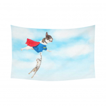 InterestPrint Funny Animals Home Decor Wall Art, Dog Holding Cat Flying in Blue Sky Cotton Linen Tapestry Wall Hanging Art Sets