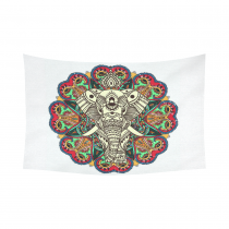 InterestPrint Mandala Elephant Home Decor Wall Art, Tribal Ethnic Aztec Cotton Linen Tapestry Wall Hanging Art Sets