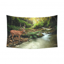 InterestPrint Reindeer Home Decor Wall Art, River Edge Resindeer in Forest Cotton Linen Tapestry Wall Hanging Art Sets
