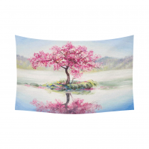InterestPrint Oil Painting Landscape Wall Art Home Decor, Cherry Blossom Tree Pink Cotton Linen Tapestry Wall Hanging Art Sets