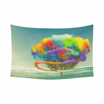 InterestPrint Art Tree Home Wall Decoration, Man Draws Abstract Tree with Colorful Smoke Flare Cotton Linen Tapestry Wall Hanging Art Sets