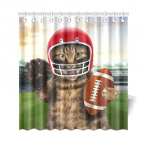 InterestPrint Fnny Animals Home Decor,Sports American Football Funny Cat   Polyester Fabric Shower Curtain Bathroom Sets