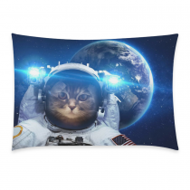 InterestPrint Sloth Astronaut Cat Nebula Galaxy Outer Space Pillowcase Standard Size 20 x 30 Inch One Side - Hipster Cat Universe Earth Planet Bling Glitter Star Pillow Case Cover Set Sham Decorative