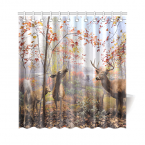 InterestPrint Red Mystic Forest Landscape Home Decor, Autum Trees Fall Leaves Deer Polyester Fabric Shower Curtain Bathroom Sets with Hooks