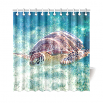 InterestPrint Deep Ocean Sea Underwater Wold Home Decor, Diving Sea Turtle Polyester Fabric Shower Curtain Bathroom Sets with Hooks
