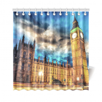 InterestPrint Famous City Landmark Home Decor, London Big Ben House of Parliament Polyester Fabric Shower Curtain Bathroom Sets with Hooks