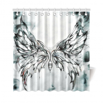 InterestPrint Watercolor Butterfly Home Decor, Black and White Polyester Fabric Shower Curtain Bathroom Sets with Hooks