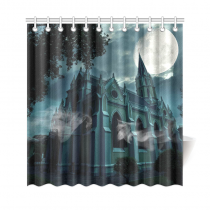 InterestPrint Halloween Pumpkin Home Decor, Full Moon Night Haunted Castle Polyester Fabric Shower Curtain Bathroom Sets with Hooks