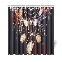 InterestPrint Dreamcatcher Feather Home Decor, Branches of Tree Polyester Fabric Shower Curtain Bathroom Sets with Hooks