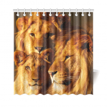 InterestPrint Sunset African Landscape Home Decor, Wildlife Animal Lions Polyester Fabric Shower Curtain Bathroom Sets with Hooks