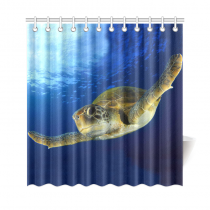 InterestPrint Underwater World Deep Ocean Home Decor, Green Sea Turtle Polyester Fabric Shower Curtain Bathroom Sets with Hooks