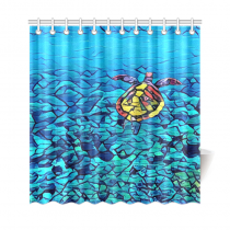 InterestPrint Marine Sea Turtle Home Decor, Underwater World Ocean Polyester Fabric Shower Curtain Bathroom Sets with Hooks