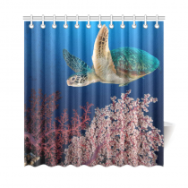 InterestPrint Tropical Deep Ocean Coral Home Decor, Underwater Sea Turtle Polyester Fabric Shower Curtain Bathroom Sets with Hooks