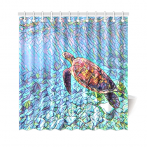InterestPrint Underwater World Sea Turtle Home Decor, Tiffny Landscape Polyester Fabric Shower Curtain Bathroom Sets with Hooks