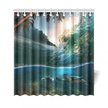 InterestPrint Deep Ocean Tropical Palm Tree Home Decor, Underwater World Sea Turtle Polyester Fabric Shower Curtain Bathroom Sets with Hooks
